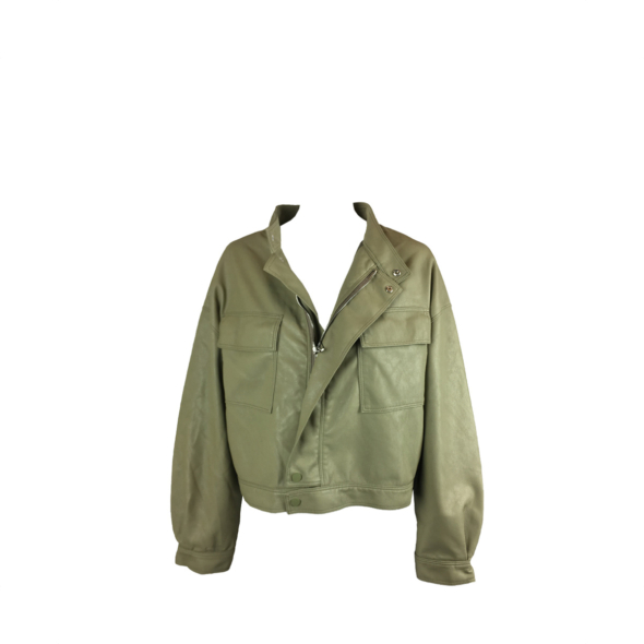 NS Boutique Faux Leather Bomber Jacket Green