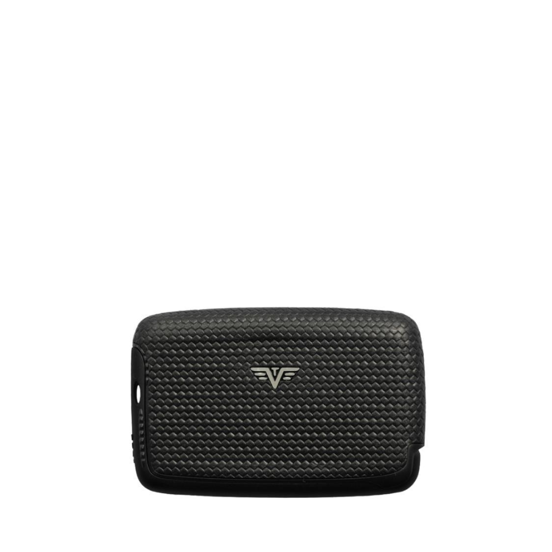 Card Case Nappa Diagonal Carbon Black Tassel