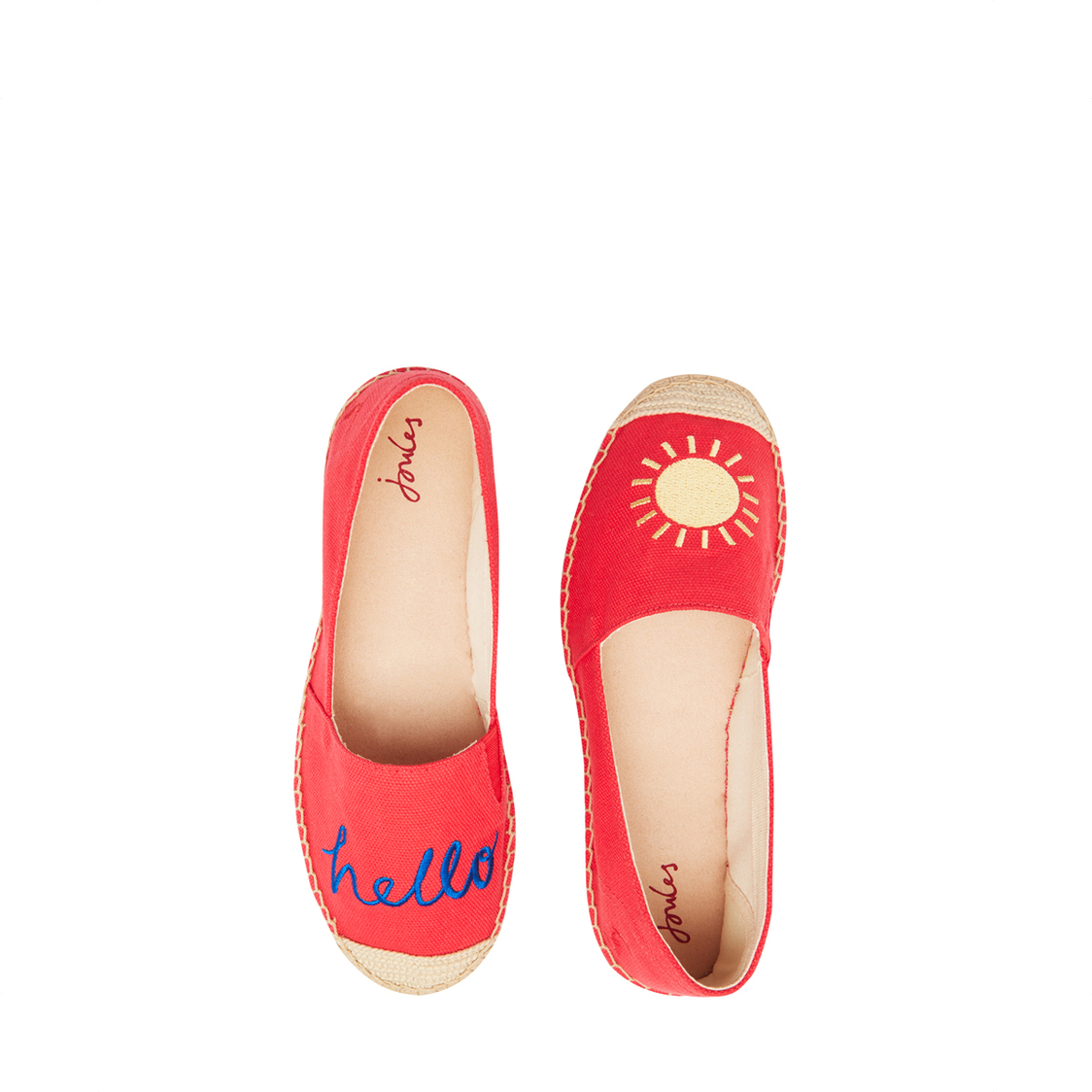 Tom Joule Shelbury Embroidered Espadrilles Red