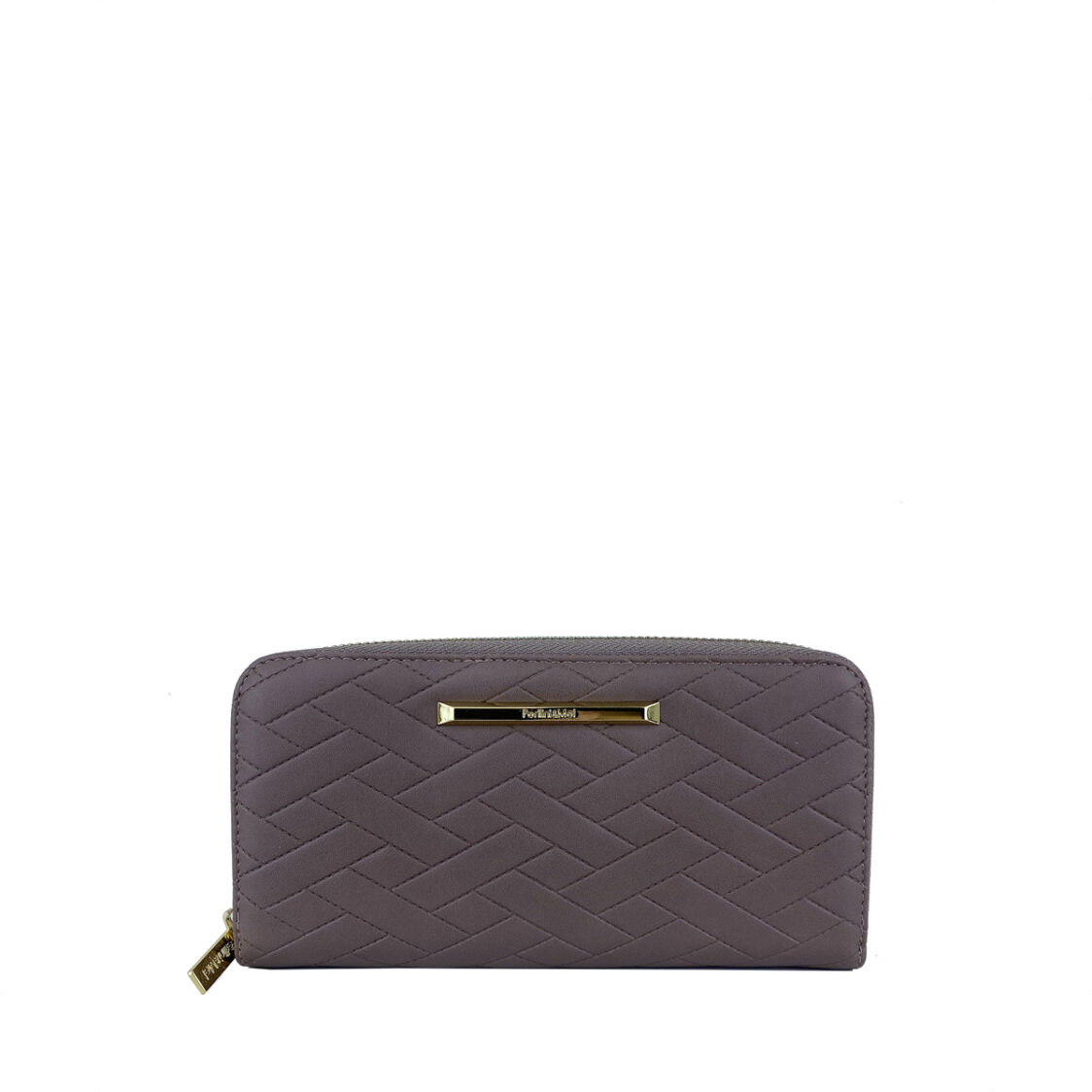 PerlliniMel Weave Embossed Zip Around Wallet X Taupe