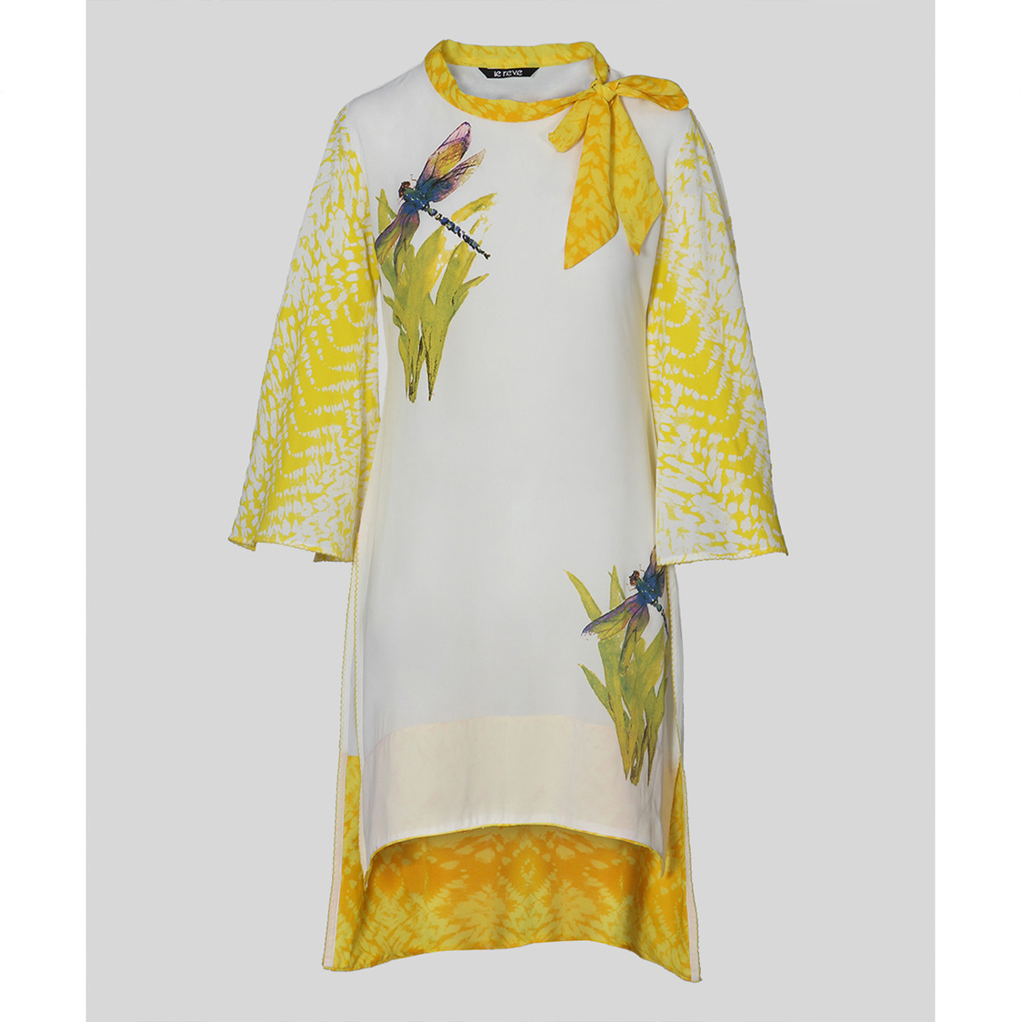 Off White  Yellow Hi-Low Tunic With Neck Tie