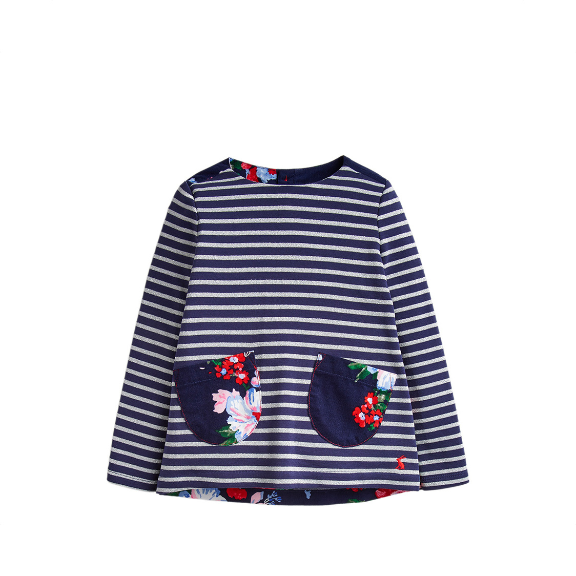 Tom Joule Ria Luxe Jersey Woven Mix Top 1-6 Years Navy Silver Stripe
