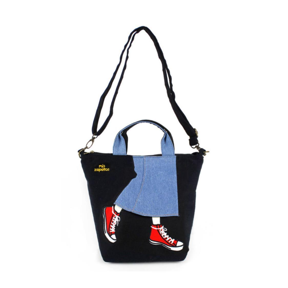 3-Way Use Jeans Skirt with Sneakers Handbag Black