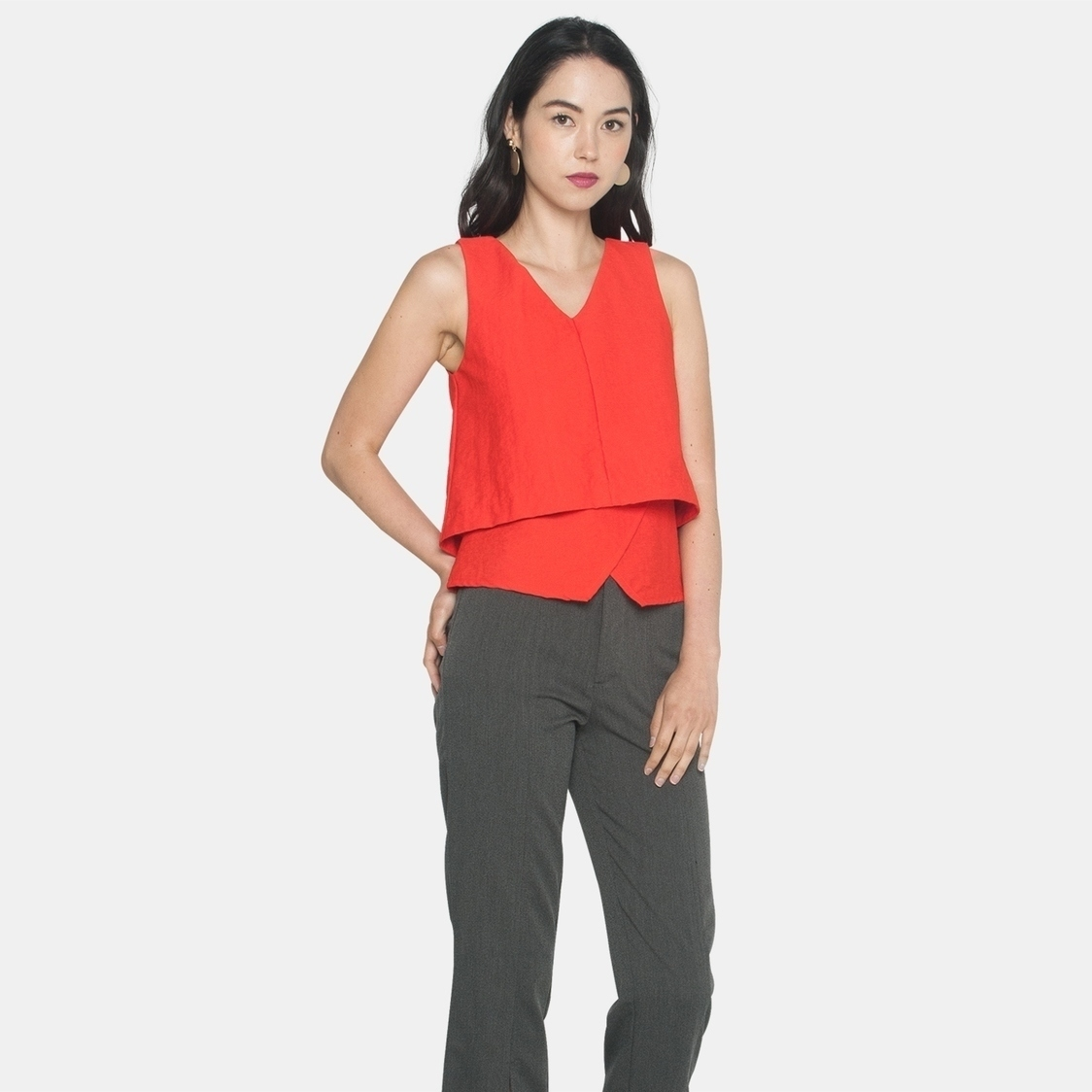 Ellysage Tiered Textured Top in Orange