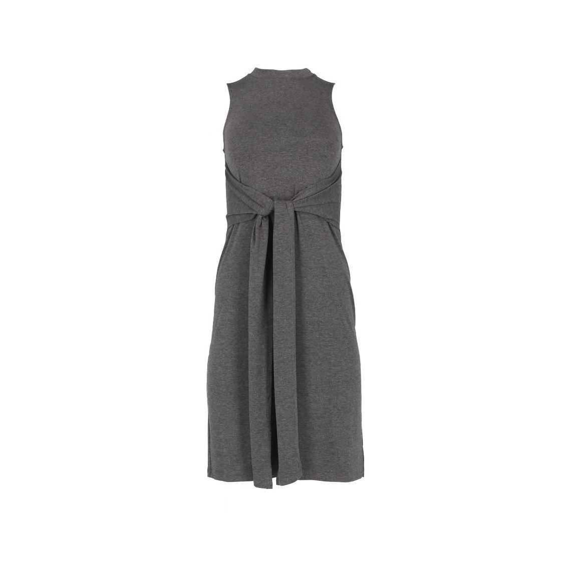 Sleeveless Knit Dress With Long Bow Tie Strap