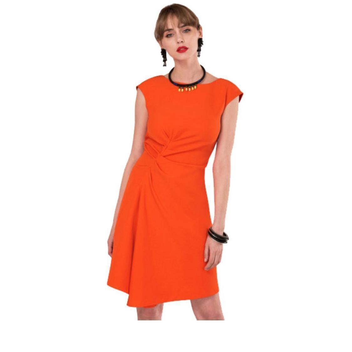 Asymmetric Front Dress Orange