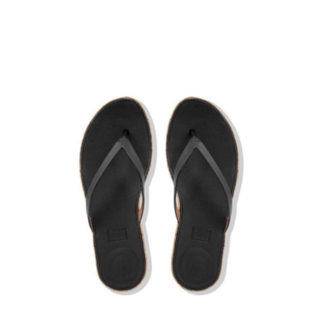 Linny Leather Toe-Thong Sandals Black