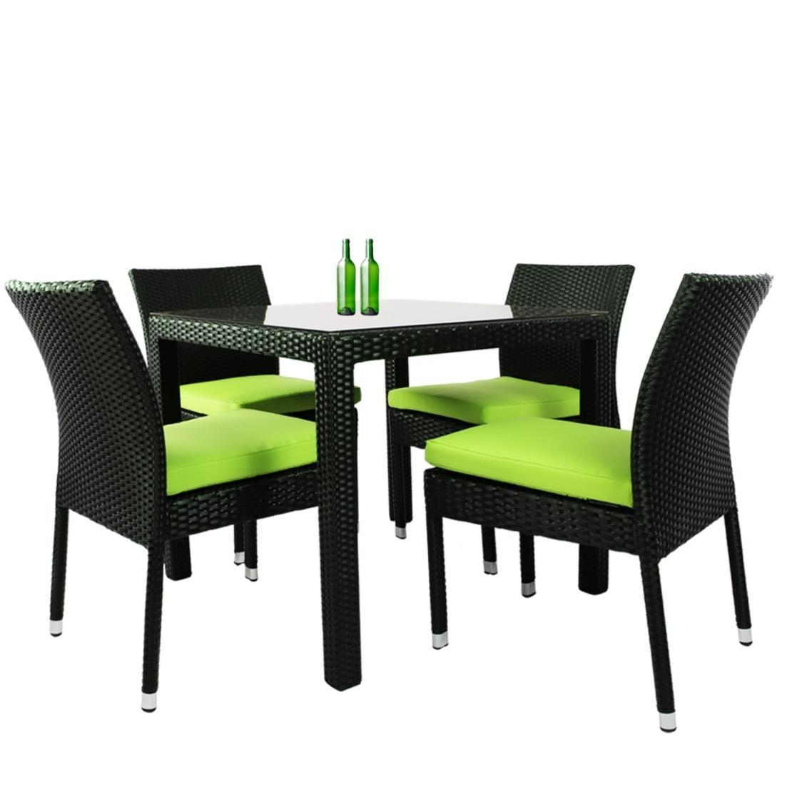 Monde 4 Chair Dining Set Green Cushion