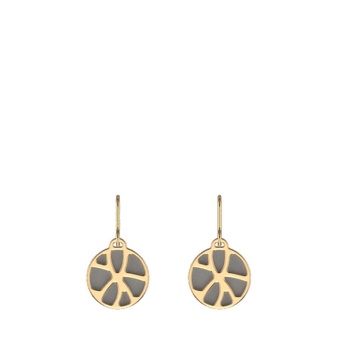 Nenuphar Sleeper Earrings16mm Gold Finishing Light Grey  Light Pink