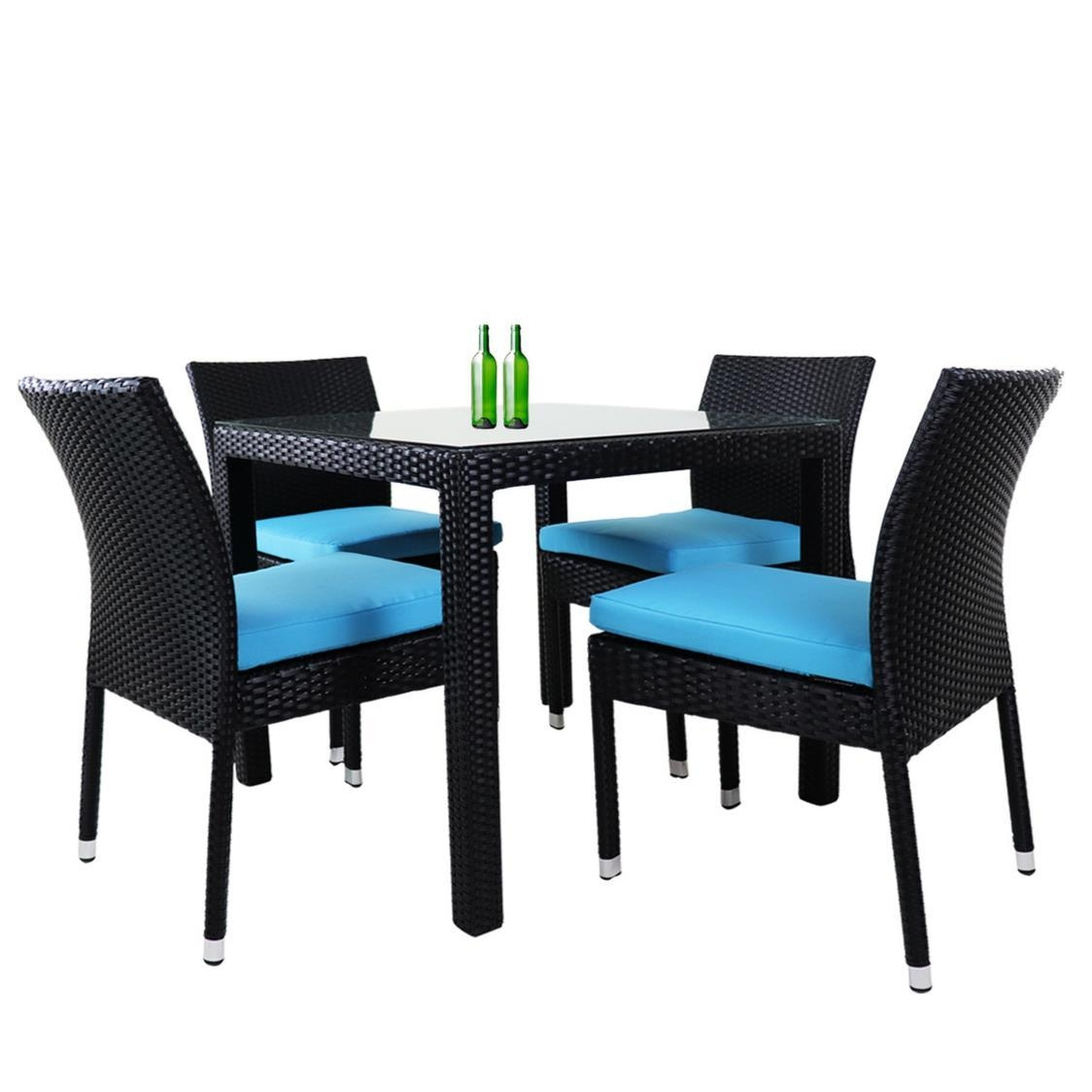 Monde 4 Chair Dining Set Blue Cushion