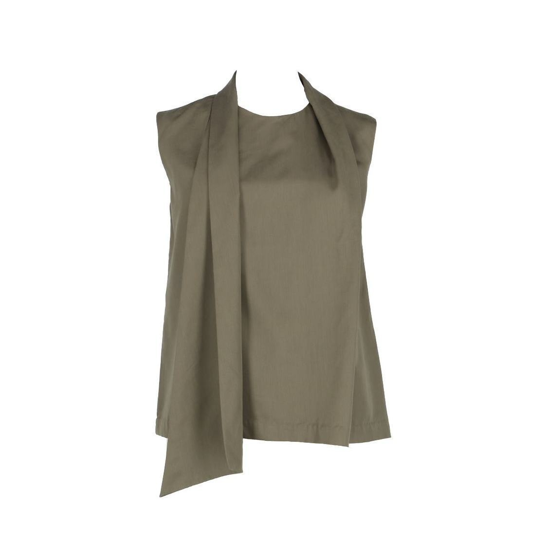 Sleeveless Top With Shawl Detail Olive