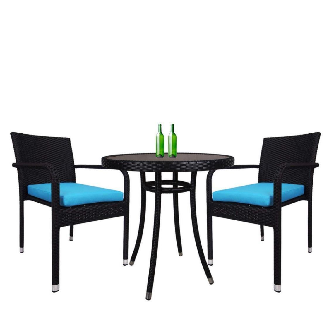 Balcony 2 Chair Bistro Set Blue Cushion