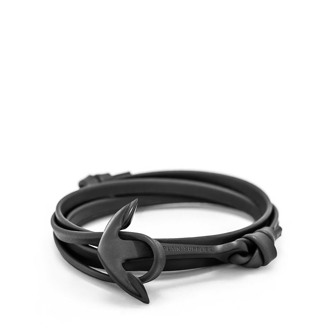 Black Anchor Bracelet  Black Leather