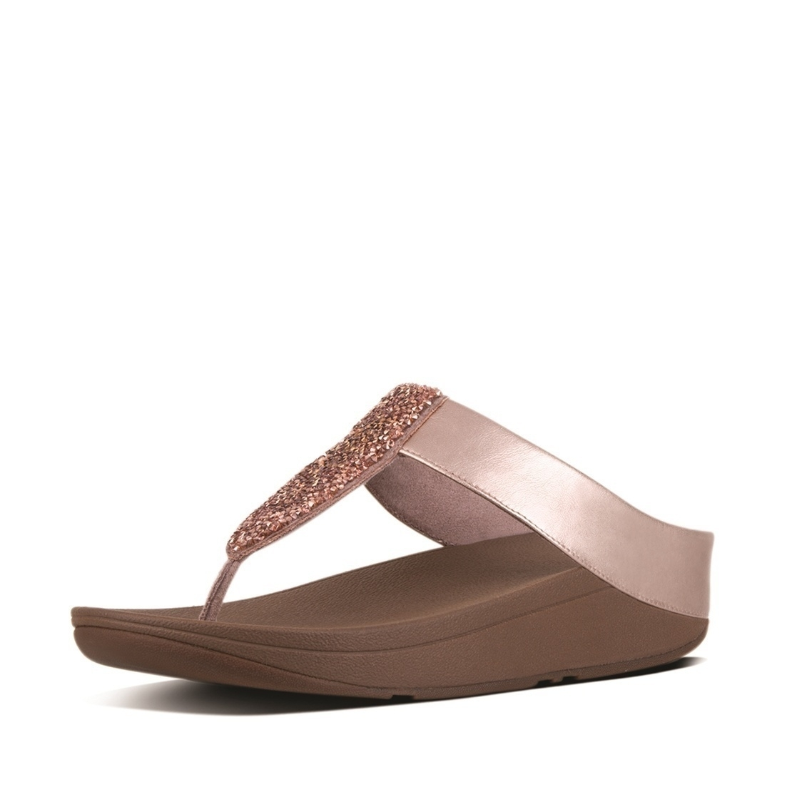 Sparklie Crystal Leather Toe-Thong Sandals