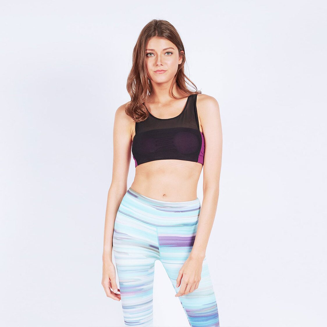 Mesh-Over Tube Sports Bra in Ultraviolet