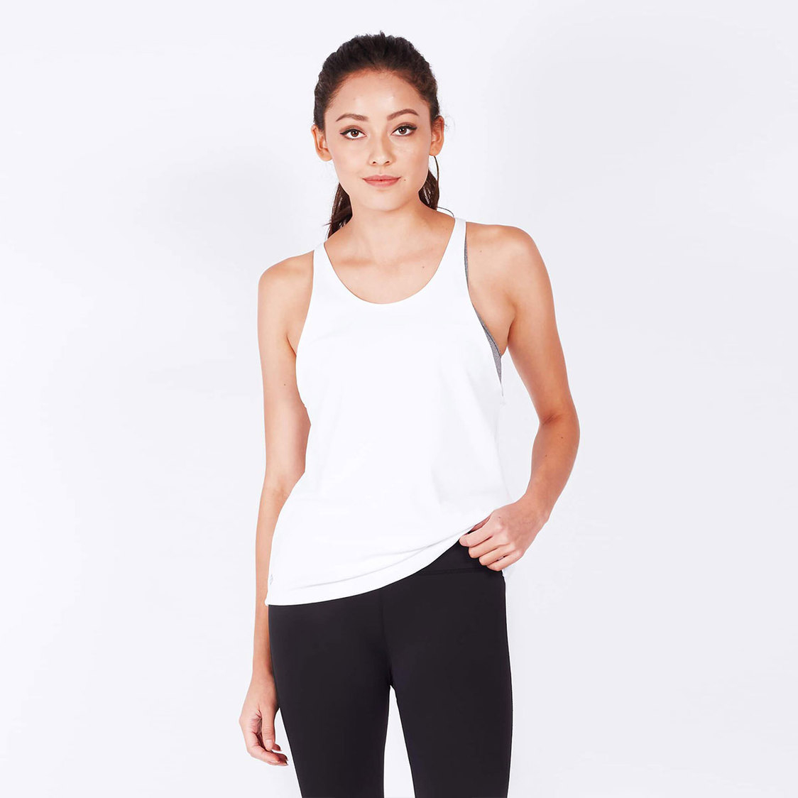 Breathe Tank Top With Mesh in White