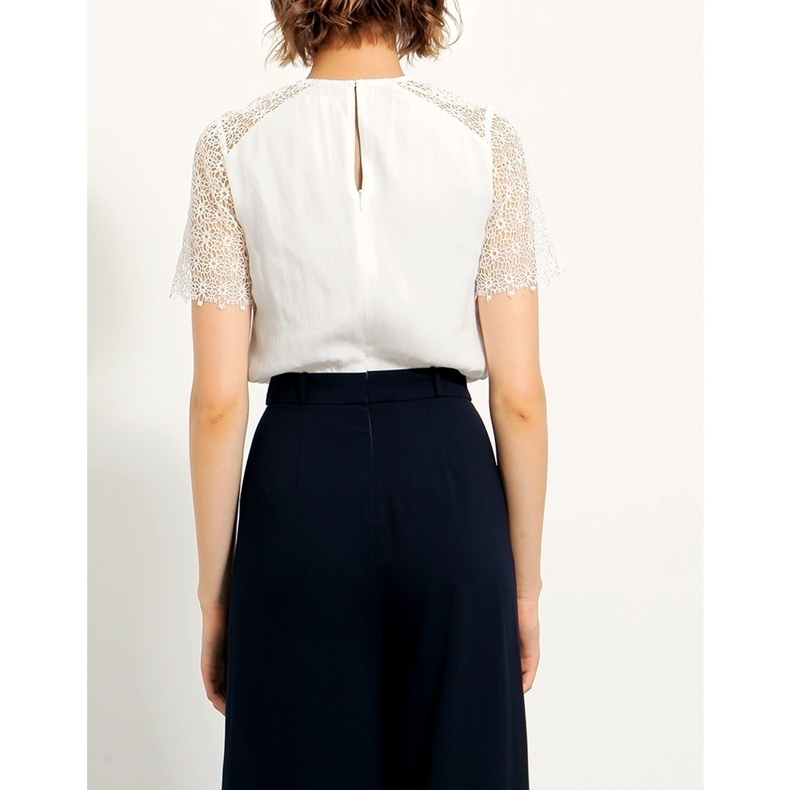 Short Sleeve Lace Top Jumpsuit