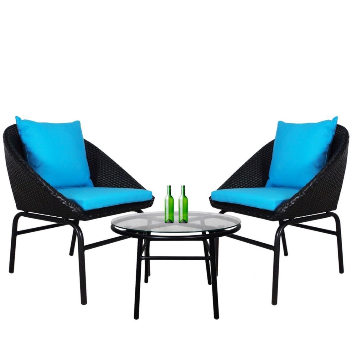 Miami Patio Set with Blue Cushions