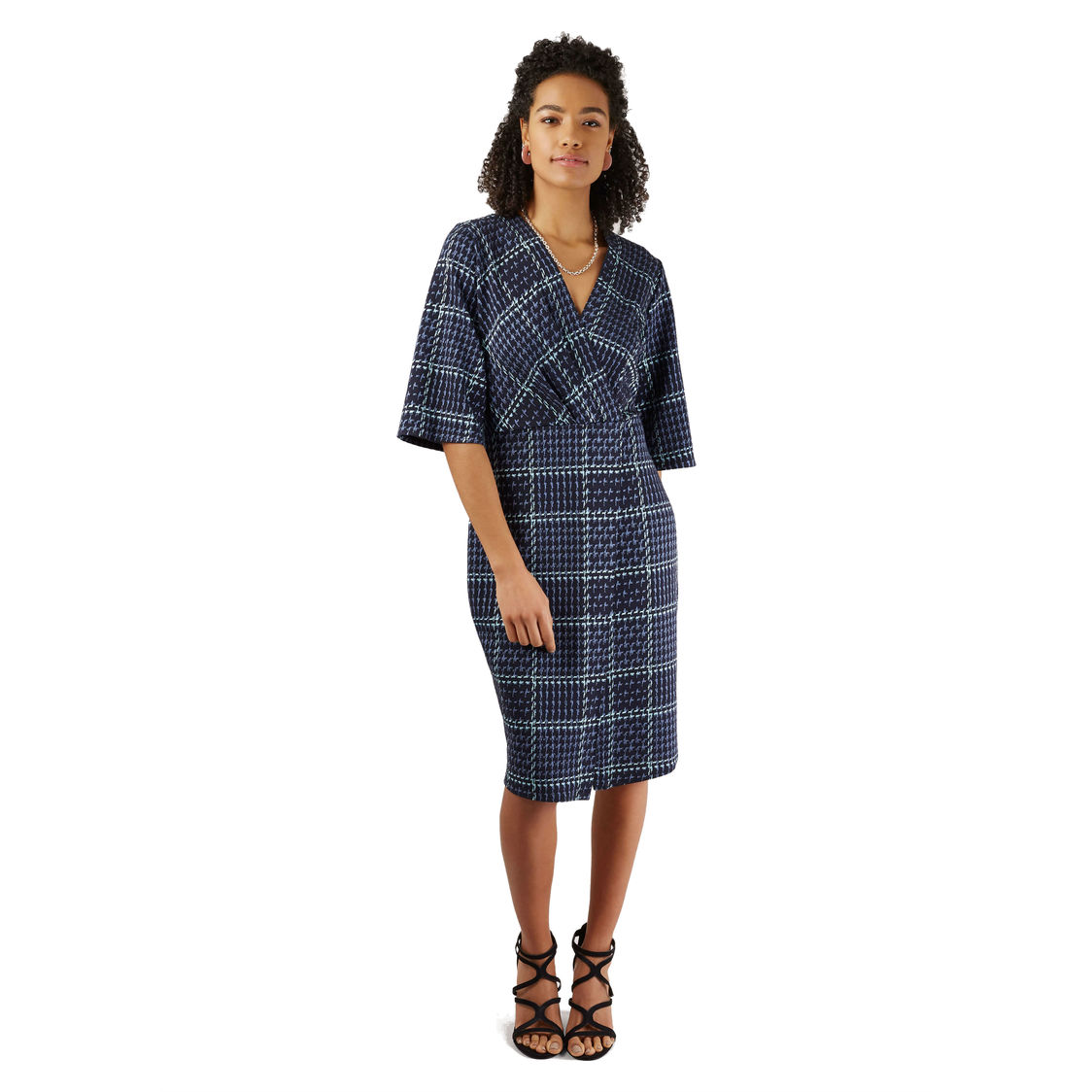 Navy Knitted Check Wrap Pencil Dress