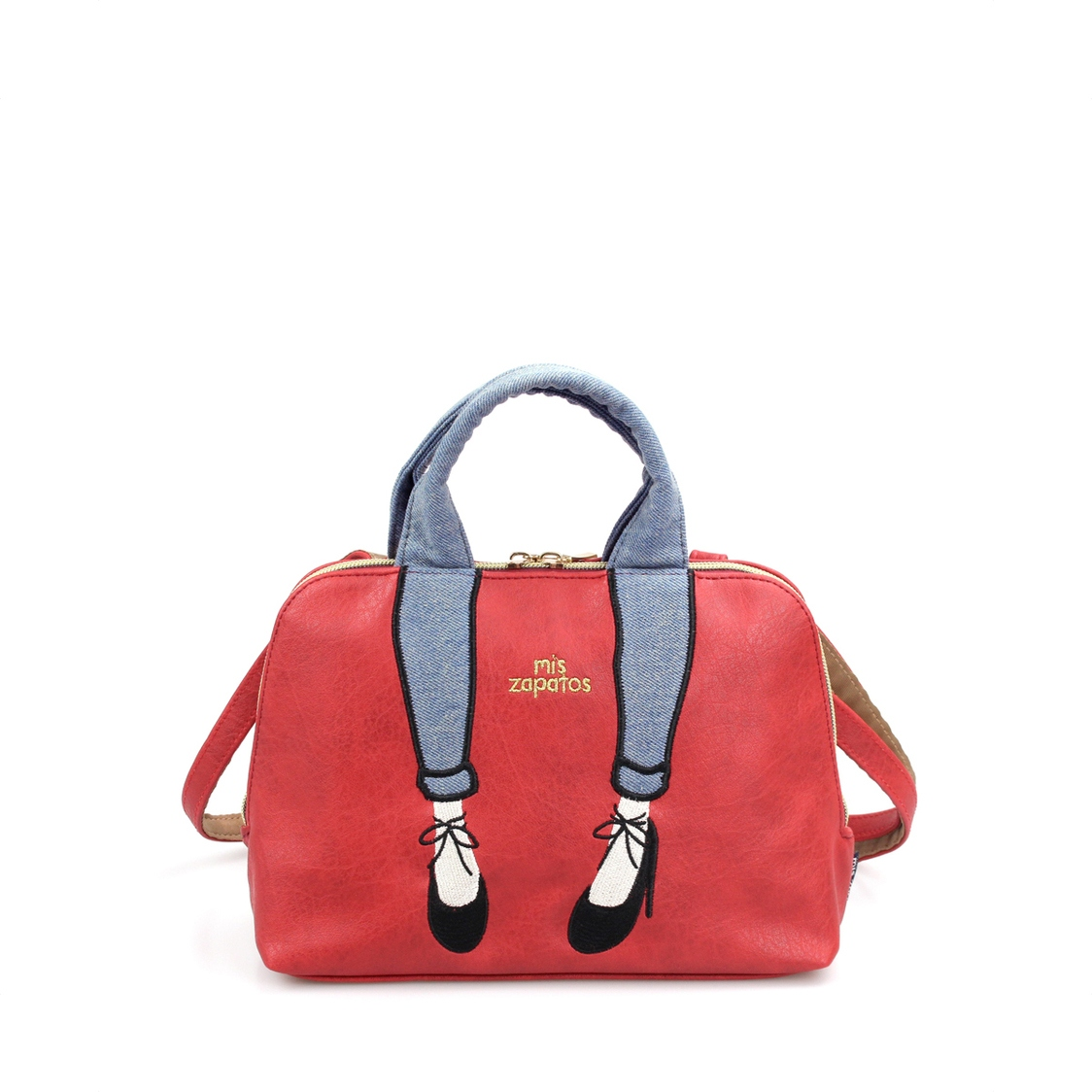 2-Way Use Jeans With High Heels Slingbag Red