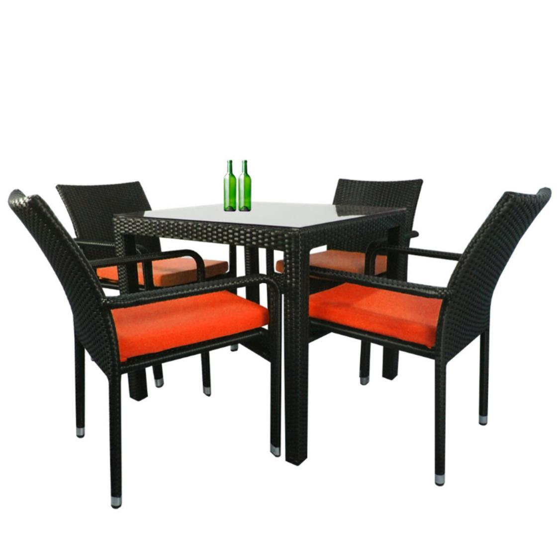 Palm 4 Chair Dining Set Orange Cushion