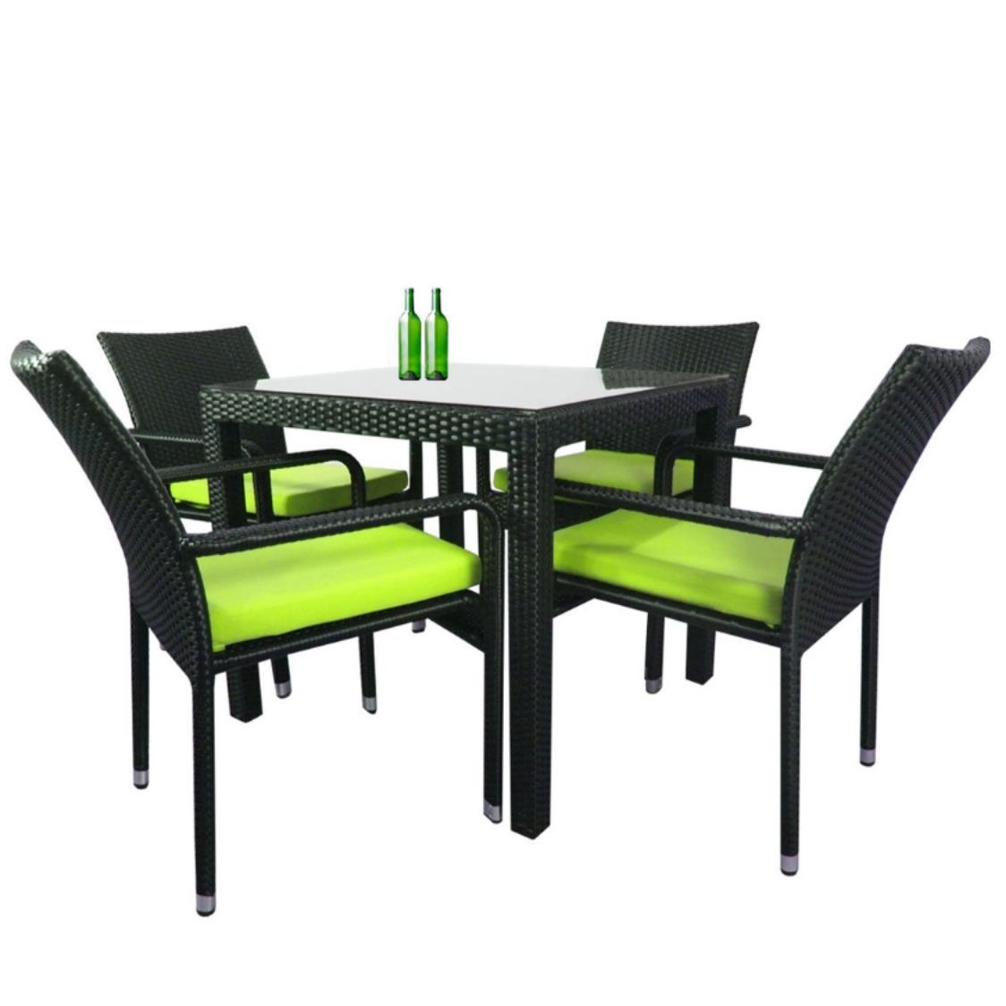 Palm 4 Chair Dining Set Green Cushion