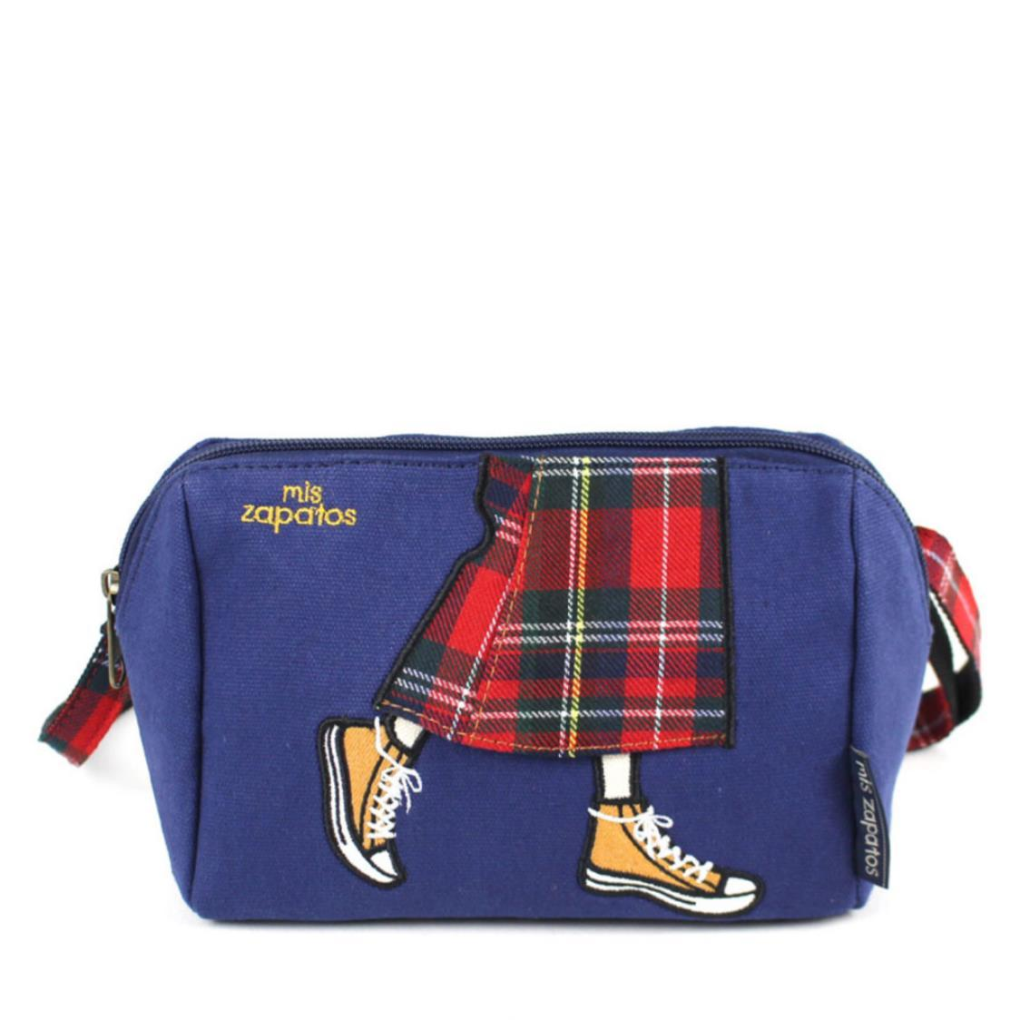 2-Way Use Jeans Skirt with Sneakers Slingbag Navy