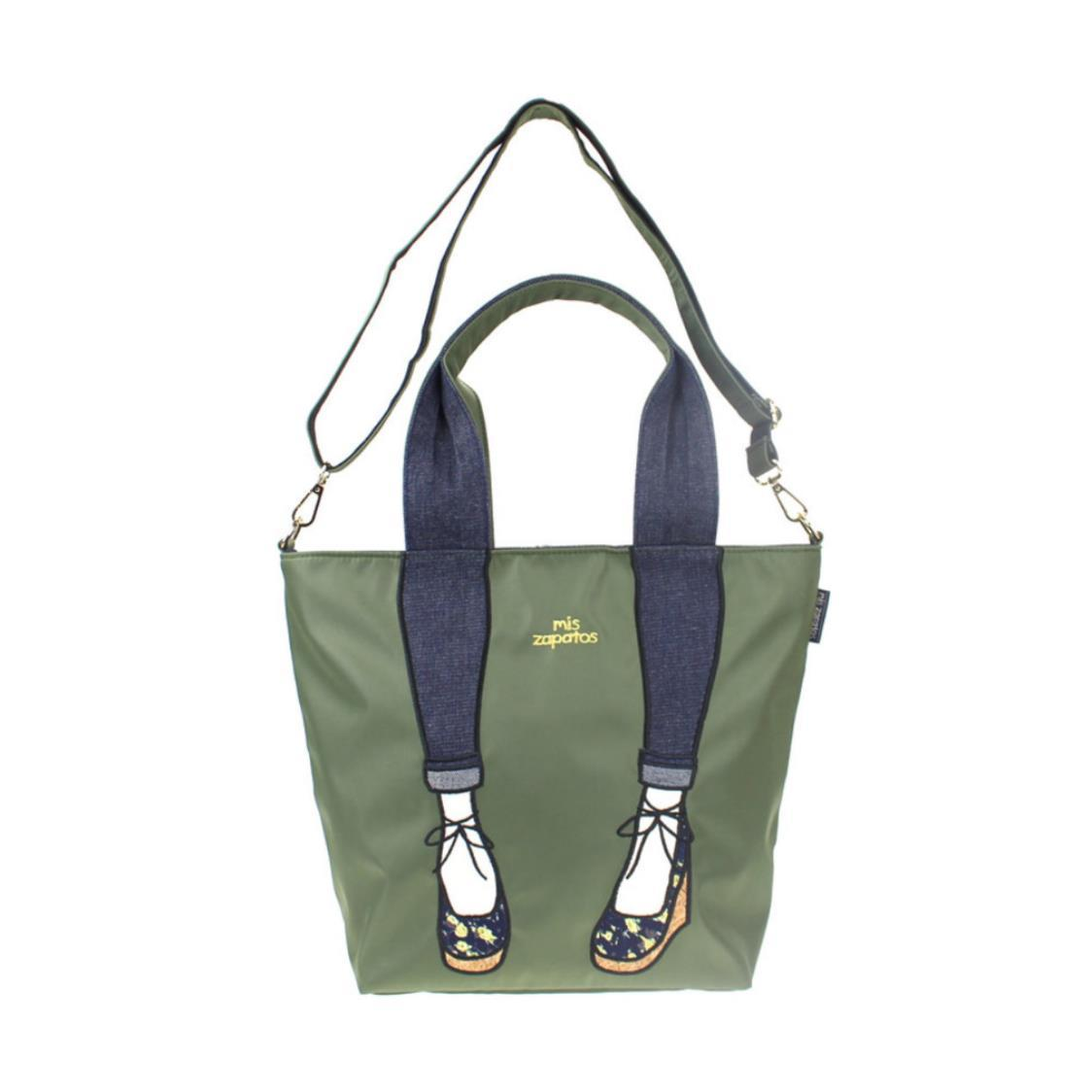 2-Way Use Jeans with Wedges Totebag Khaki