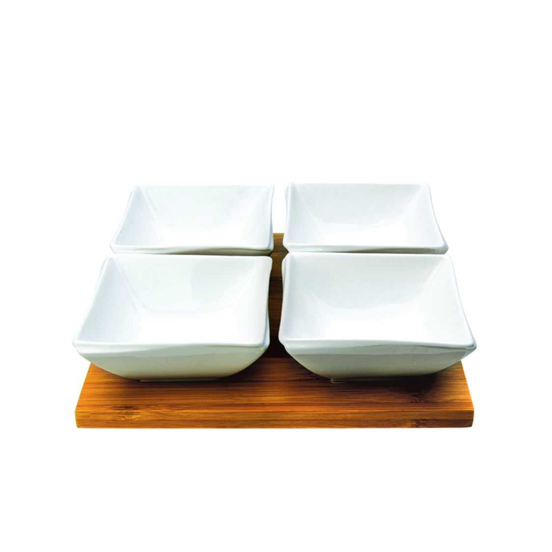 Grid 4 Condiment Bowls On Bamboo Base SR-61