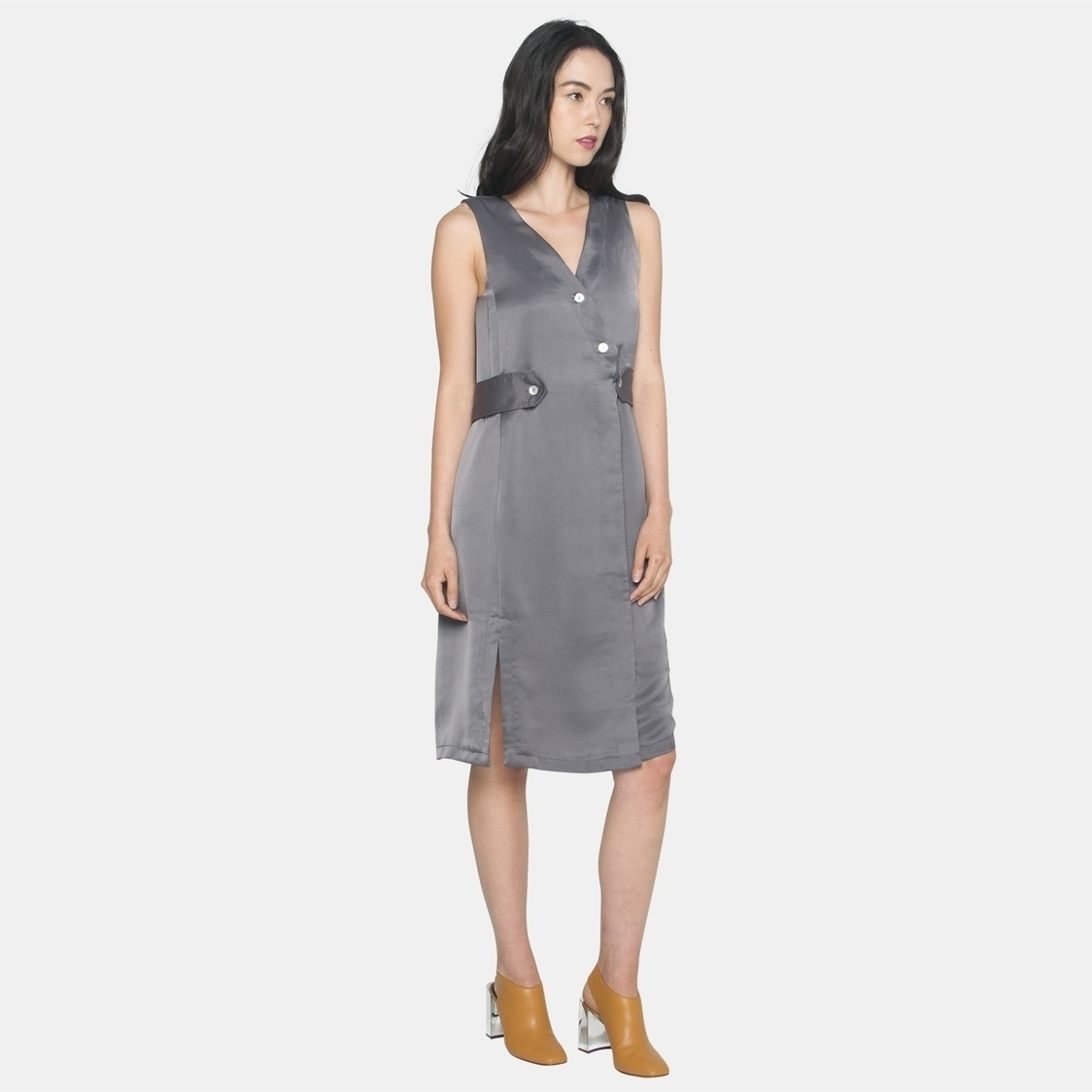 Ellysage Belted Shirt Dress with Slits in Grey