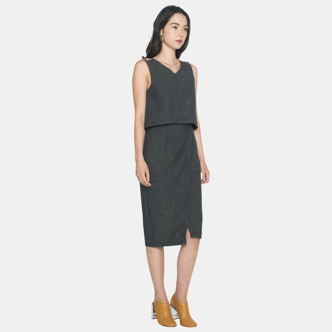Ellysage Tiered Pencil Dress in Dark Grey