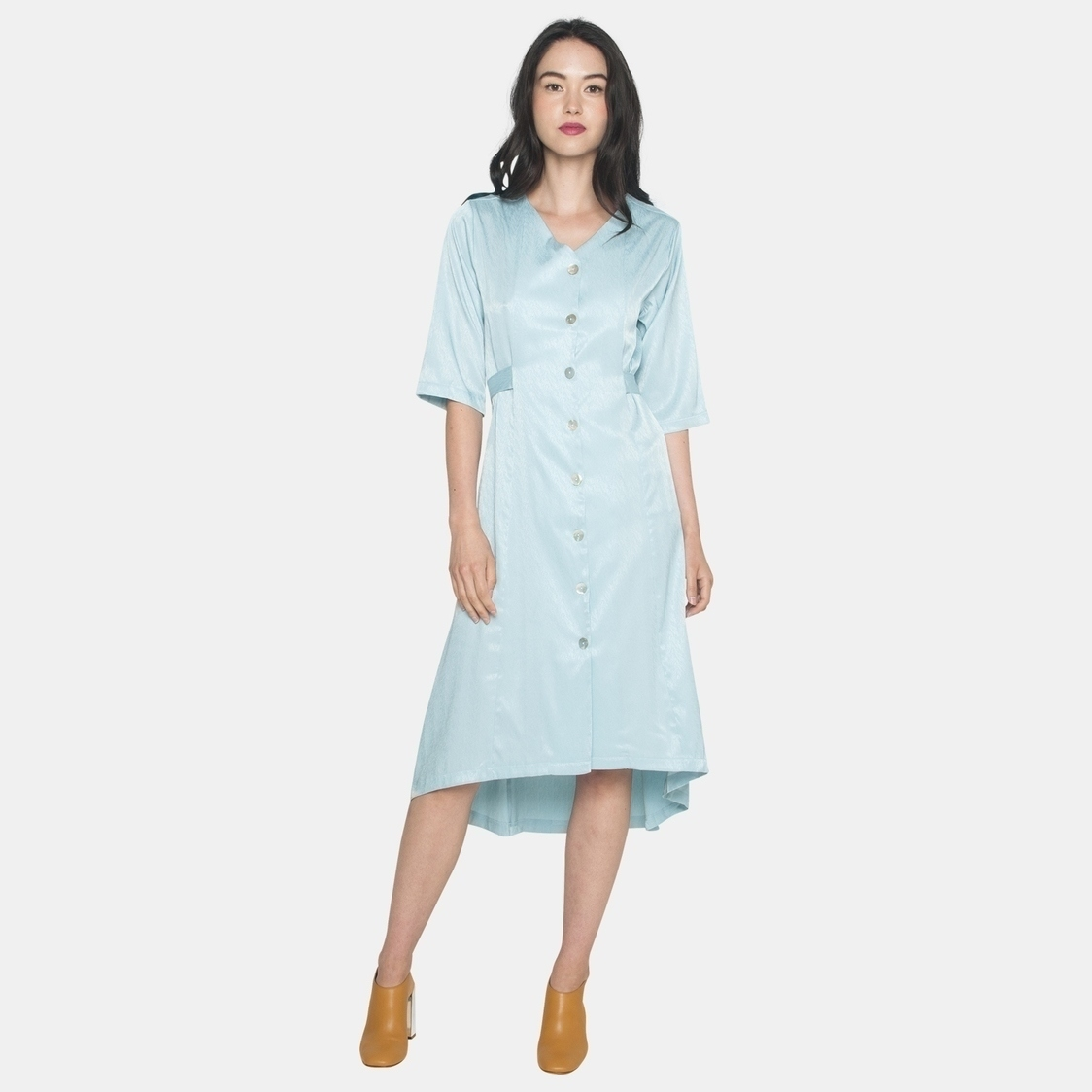 Ellysage Buttoned Dress with Back Tie in Mint