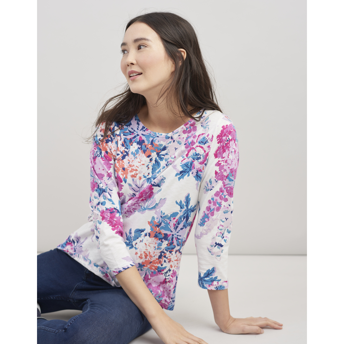 Harbour Printed Jersey Top Cream Floral