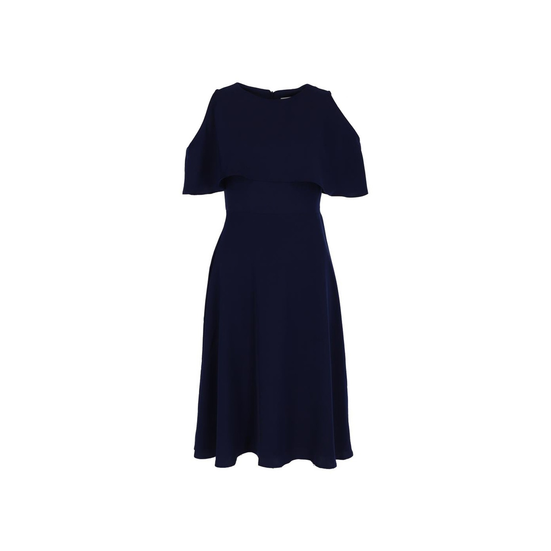 Cape Detail Fit  Flare Dress Navy Blue