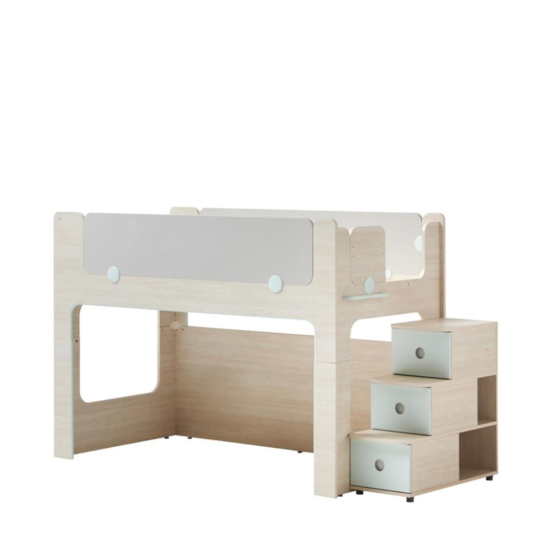 Cabin Bunk Bed Stairs Cabinet OSLA Olmless Ruster Light Aqua