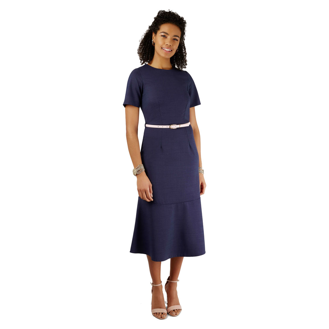 Navy Short Sleeve Midi Dress