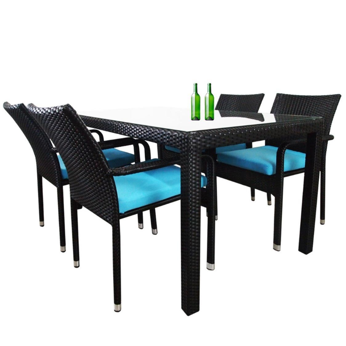 Boulevard 4 Chair Dining Blue Cushion