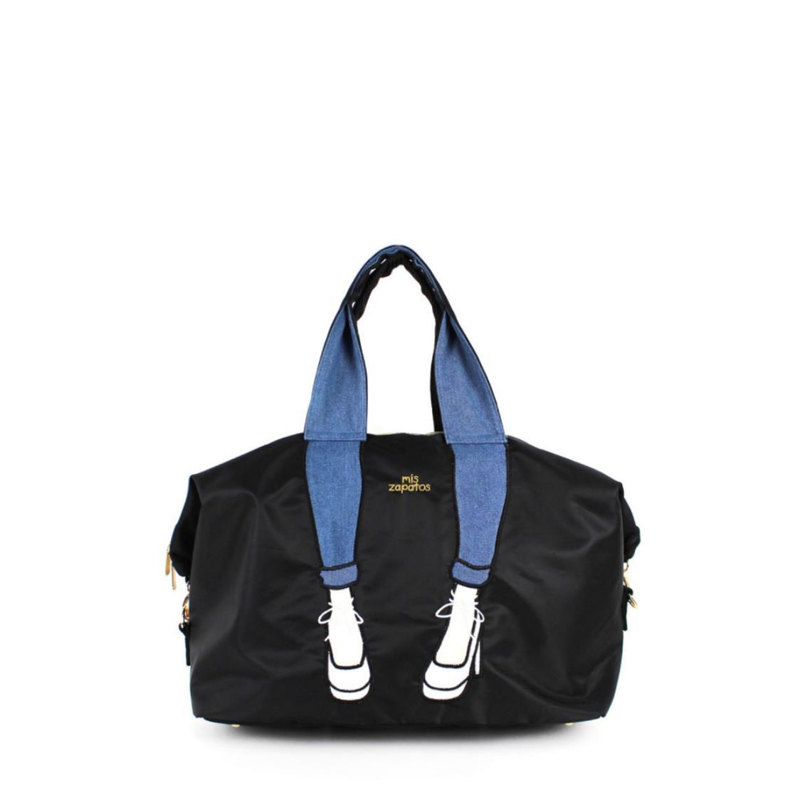2-Way Use Jeans with High Heels Travel Bag Black