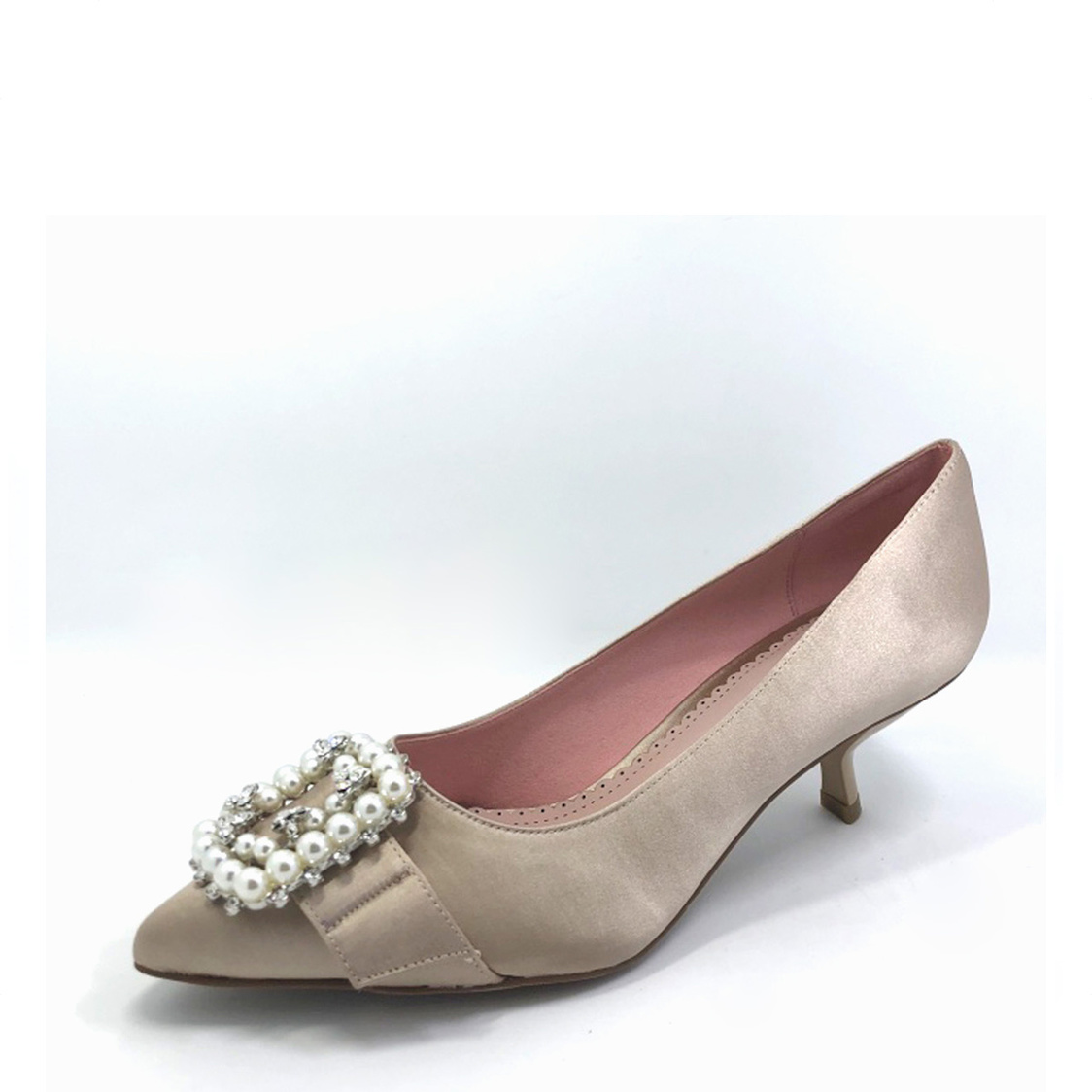 Courtshoes with PearlDiamante Buckle Champagne
