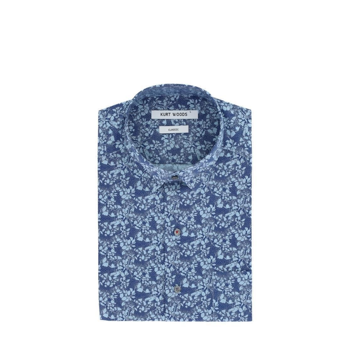 Short Sleeve Navy Floral Printed Classic Fit Cotton Shirt