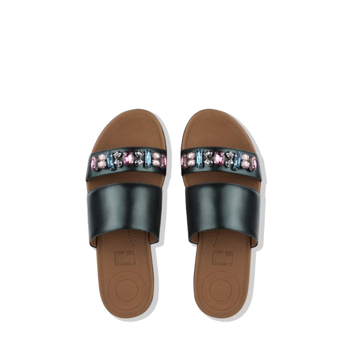 Delta Bejewelled Leather Slides Galactic Green