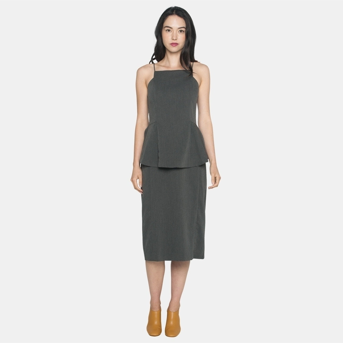 Ellysage Peplum Cami Pencil Dress in Grey