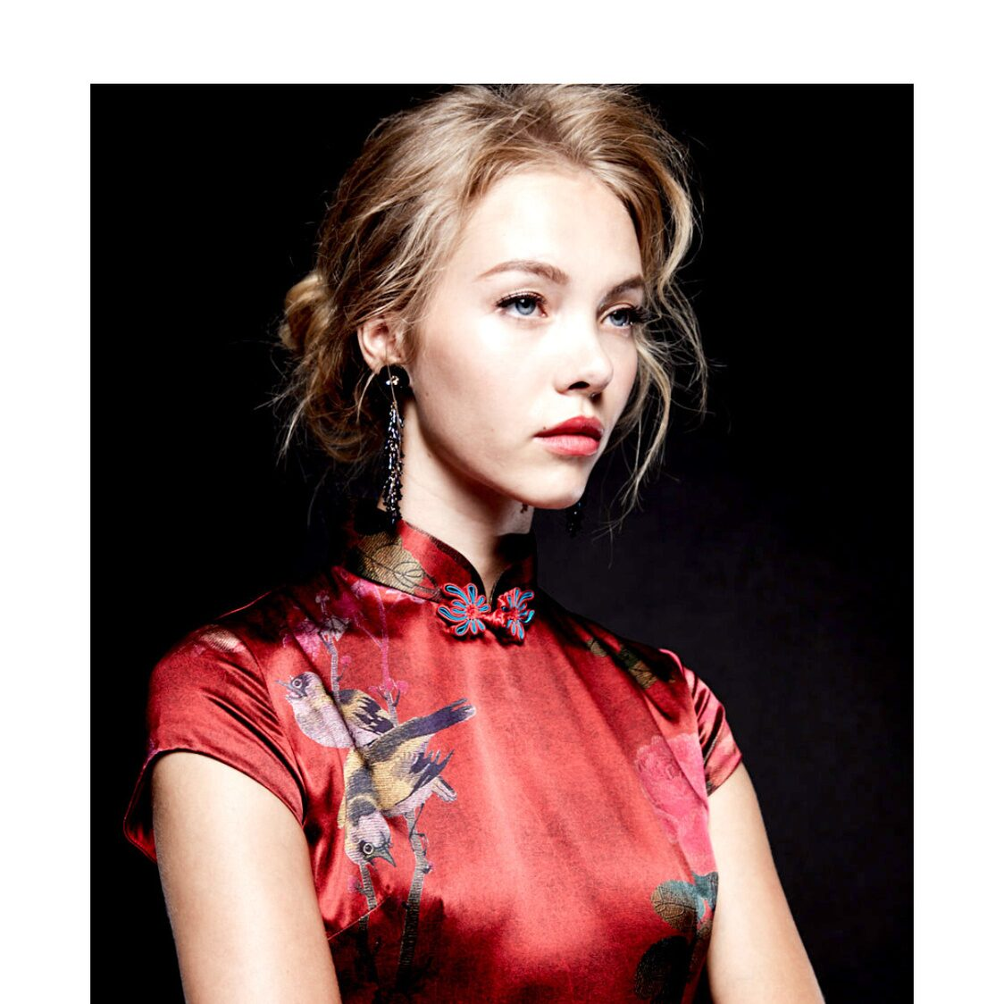 Intricate Brush Painted Robin Stretch Silk Cheongsam in Old Shanghai Red