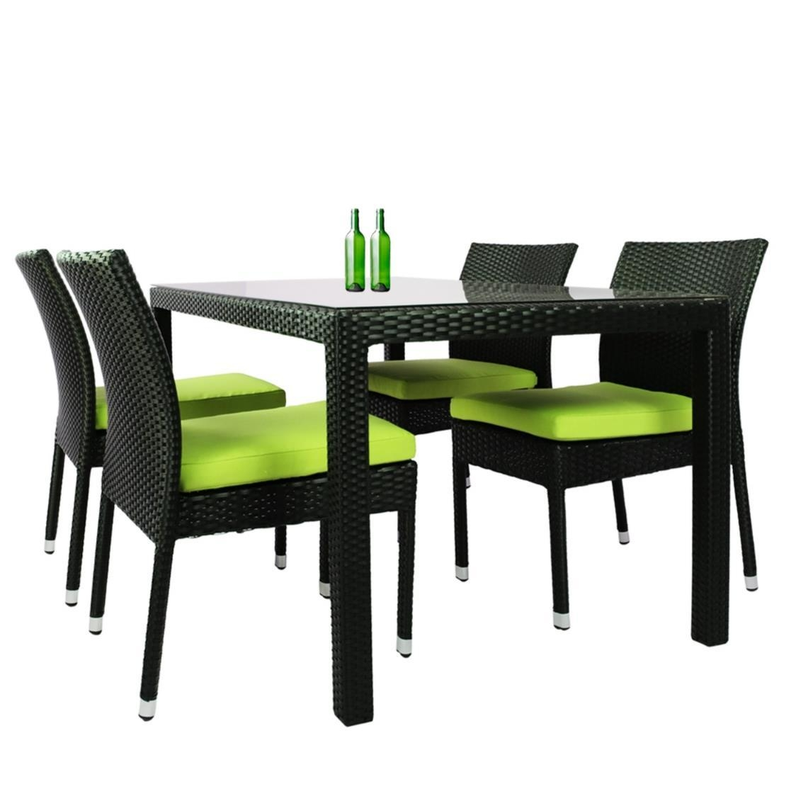 Casa 4 Chair Dining Set Green Cushion