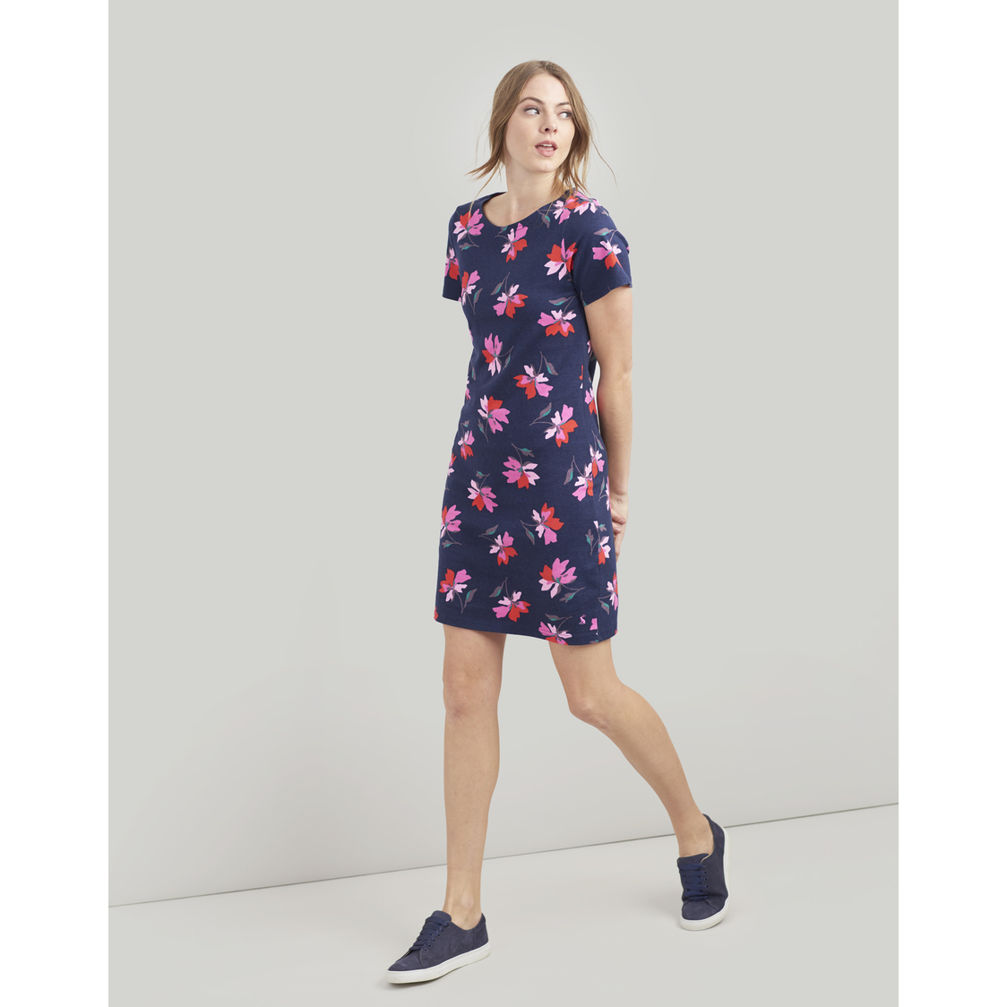 Riviera Print Dress With Short Sleeves