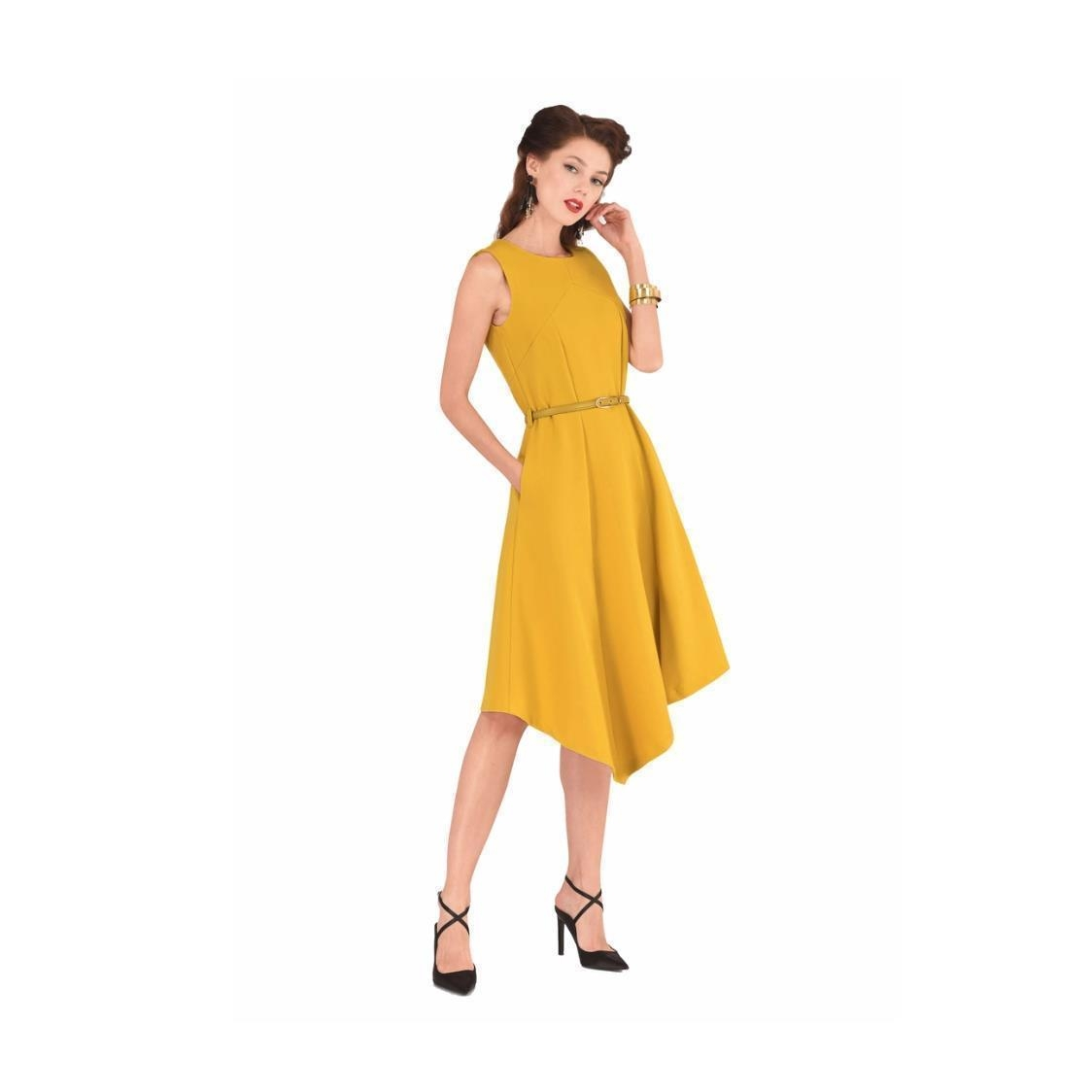 Mustard Asymmetric Hem Dress