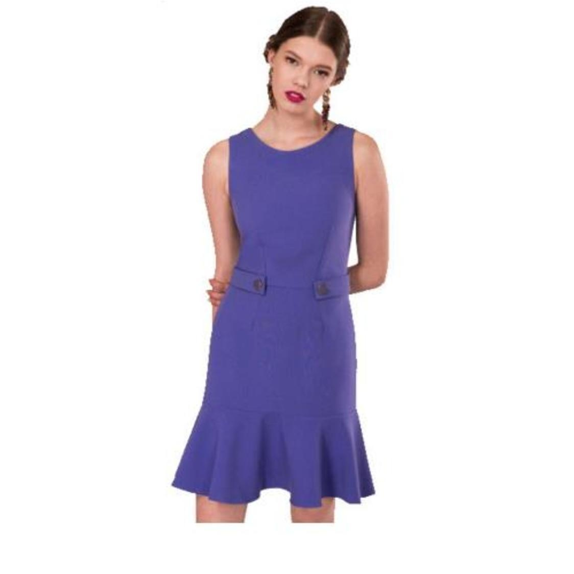 Flared Hem Shift Dress Lilac