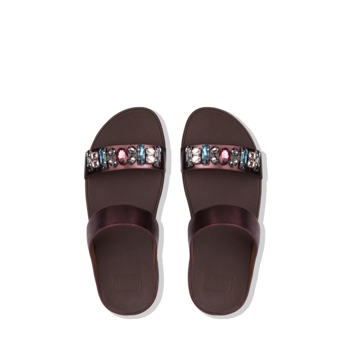 Fino Bejewelled Leather Slides Berry