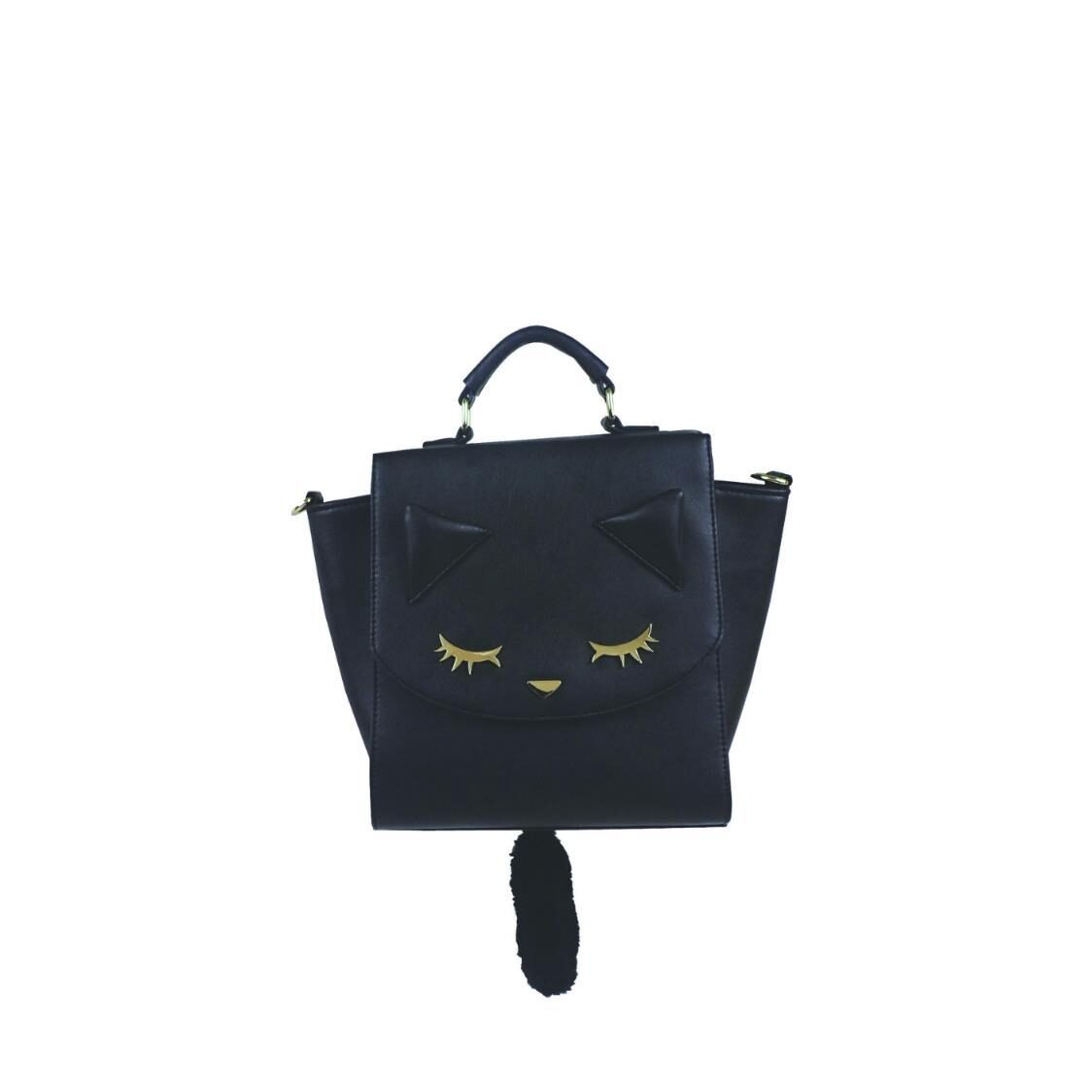 3 Ways Handbag with Tail Black