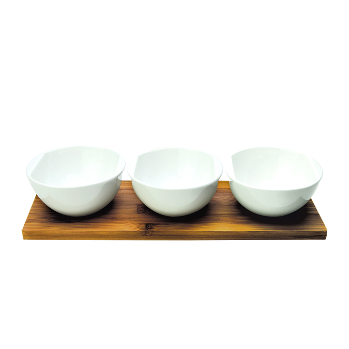 Dimple 3 Condiment Bowls On Bamboo Base SR-55